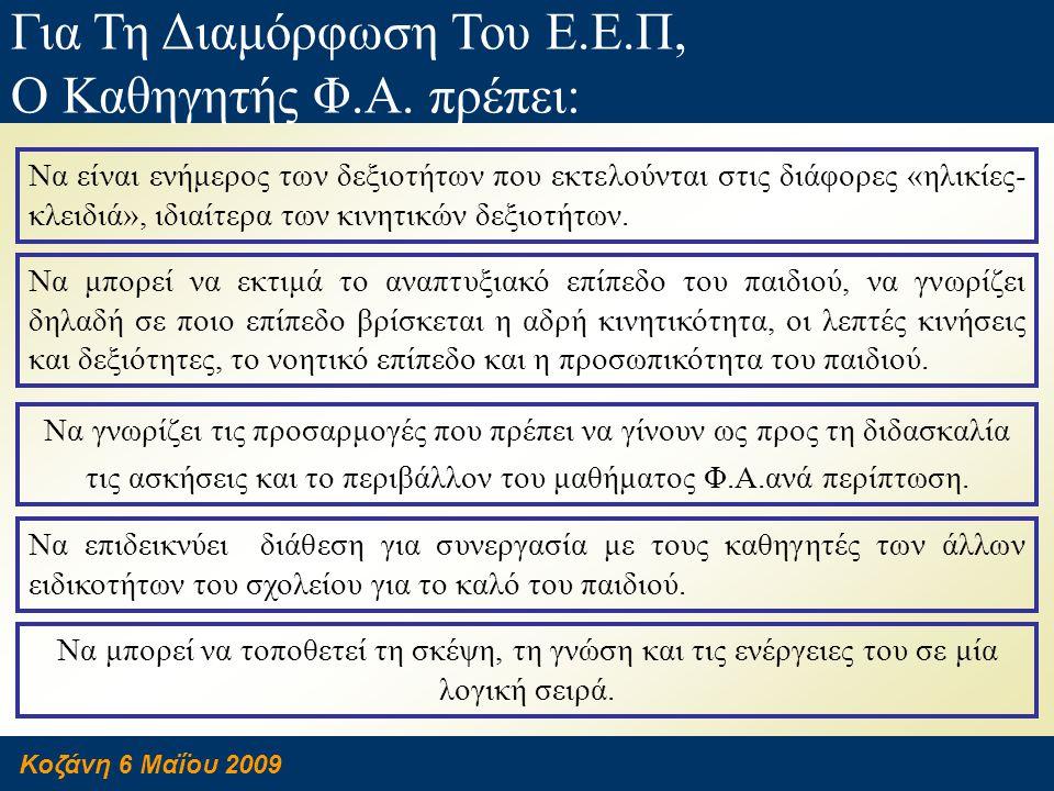 Κοζάνη 6 Μαΐου 2009 Για Τη Διαμόρφωση Του Ε.Ε.Π, Ο Καθηγητής Φ.Α. πρέπει: Να γνωρίζει τις προσαρμογές που πρέπει να γίνουν ως προς τη διδασκαλία τις α