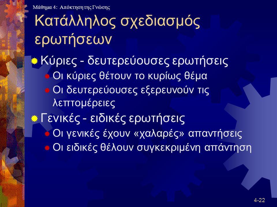 Μάθημα 4: Απόκτηση της Γνώσης 4-22 Κατάλληλος σχεδιασμός ερωτήσεων  Κύριες - δευτερεύουσες ερωτήσεις  Οι κύριες θέτουν το κυρίως θέμα  Οι δευτερεύο