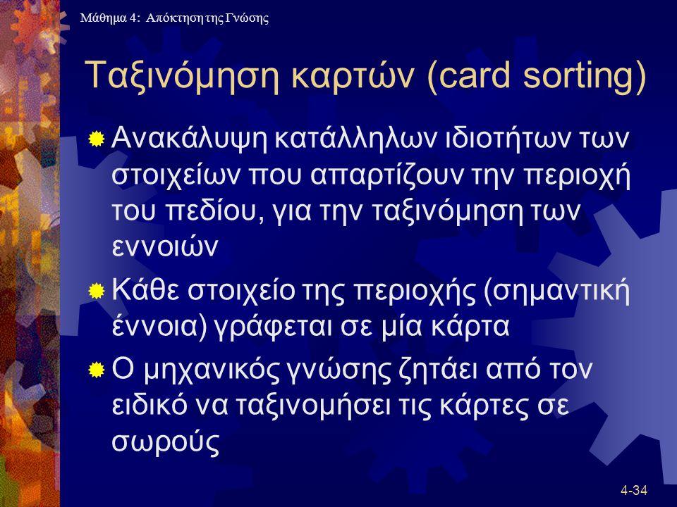 Μάθημα 4: Απόκτηση της Γνώσης 4-34 Ταξινόμηση καρτών (card sorting)  Ανακάλυψη κατάλληλων ιδιοτήτων των στοιχείων που απαρτίζουν την περιοχή του πεδί