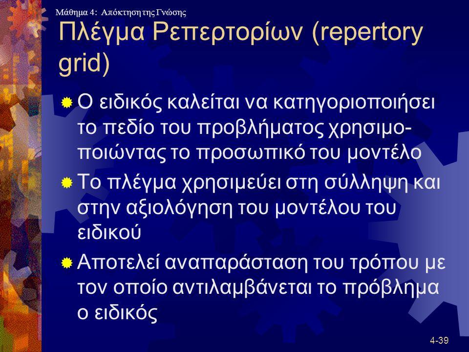 Μάθημα 4: Απόκτηση της Γνώσης 4-39 Πλέγμα Ρεπερτορίων (repertory grid)  Ο ειδικός καλείται να κατηγοριοποιήσει το πεδίο του προβλήματος χρησιμο- ποιώ