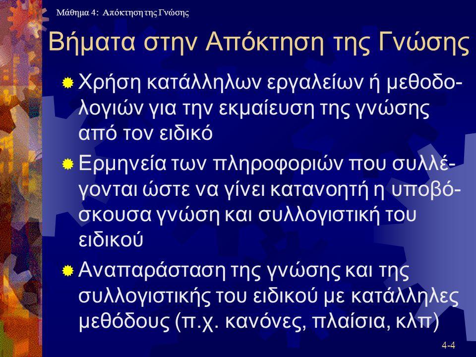 Μάθημα 4: Απόκτηση της Γνώσης 4-45 Πλέγμα Ρεπερτορίων  Πλεονέκτημα: Αναγκάζει τον ειδικό να σκεφτεί το πρόβλημα πιο σοβαρά  Μειονέκτημα: Είναι δύσκολη η διαχείριση των μεγάλων πλεγμάτων  Η μέθοδος χρησιμοποιείται συνήθως στα αρχικά στάδια της απόκτησης της γνώσης