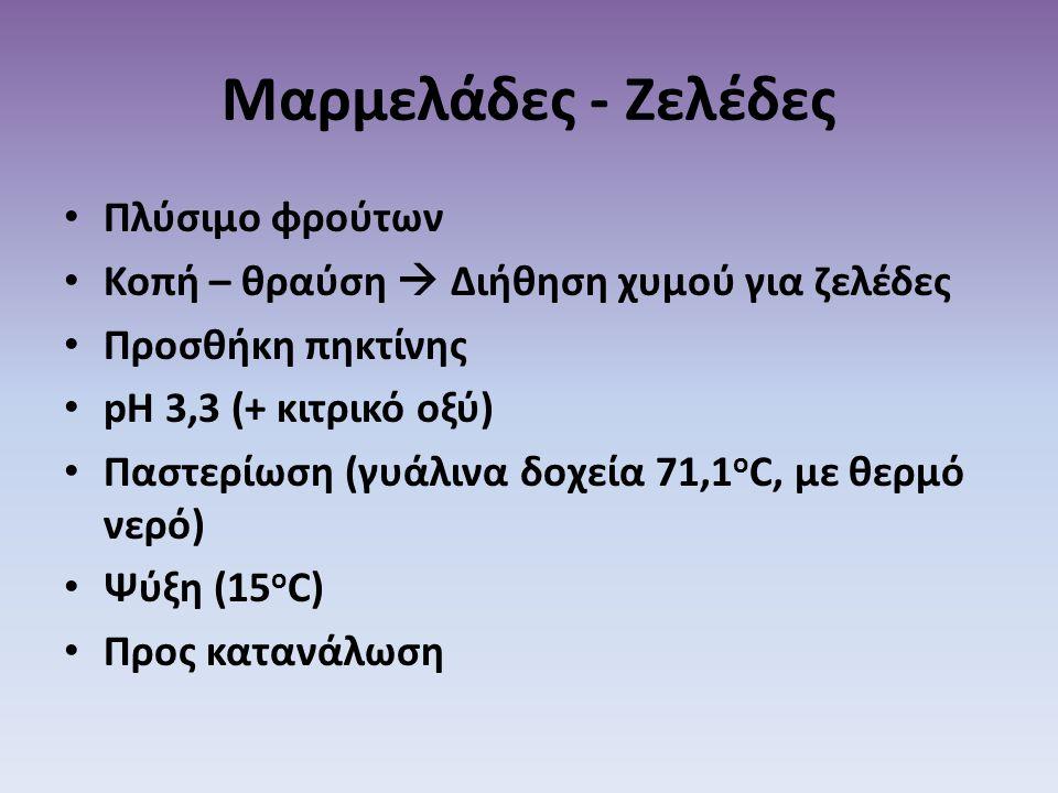 Μαρμελάδες - Ζελέδες • Πλύσιμο φρούτων • Κοπή – θραύση  Διήθηση χυμού για ζελέδες • Προσθήκη πηκτίνης • pH 3,3 (+ κιτρικό οξύ) • Παστερίωση (γυάλινα