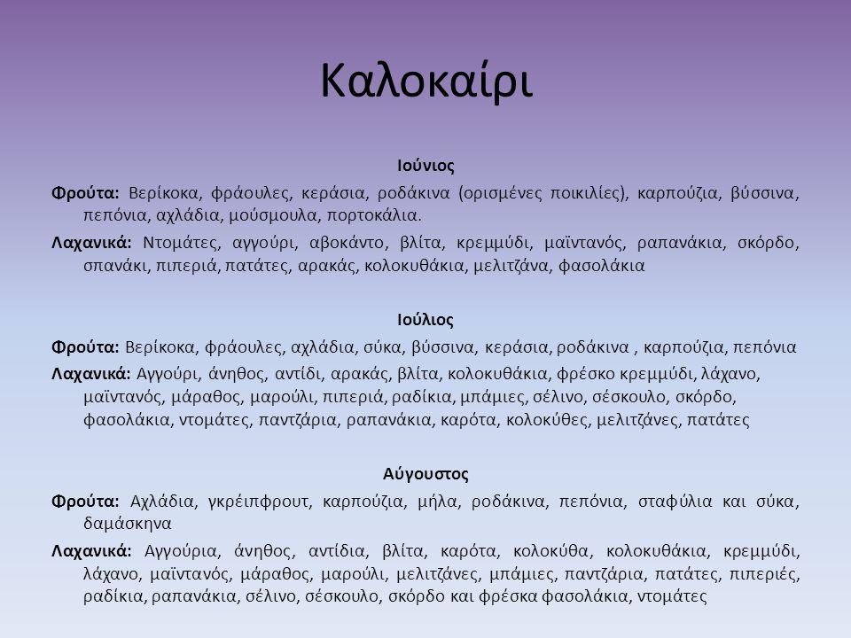 Καλοκαίρι Ιούνιος Φρούτα: Βερίκοκα, φράουλες, κεράσια, ροδάκινα (ορισμένες ποικιλίες), καρπούζια, βύσσινα, πεπόνια, αχλάδια, μούσμουλα, πορτοκάλια. Λα