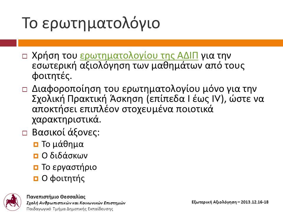 Πανεπιστήμιο Θεσσαλίας Σχολή Ανθρωπιστικών και Κοινωνικών Επιστημών Παιδαγωγικό Τμήμα Δημοτικής Εκπαίδευσης Εξωτερική Αξιολόγηση – 2013.12.16-18 Το ερωτηματολόγιο  Χρήση του ερωτηματολογίου της ΑΔΙΠ για την εσωτερική αξιολόγηση των μαθημάτων από τους φοιτητές.