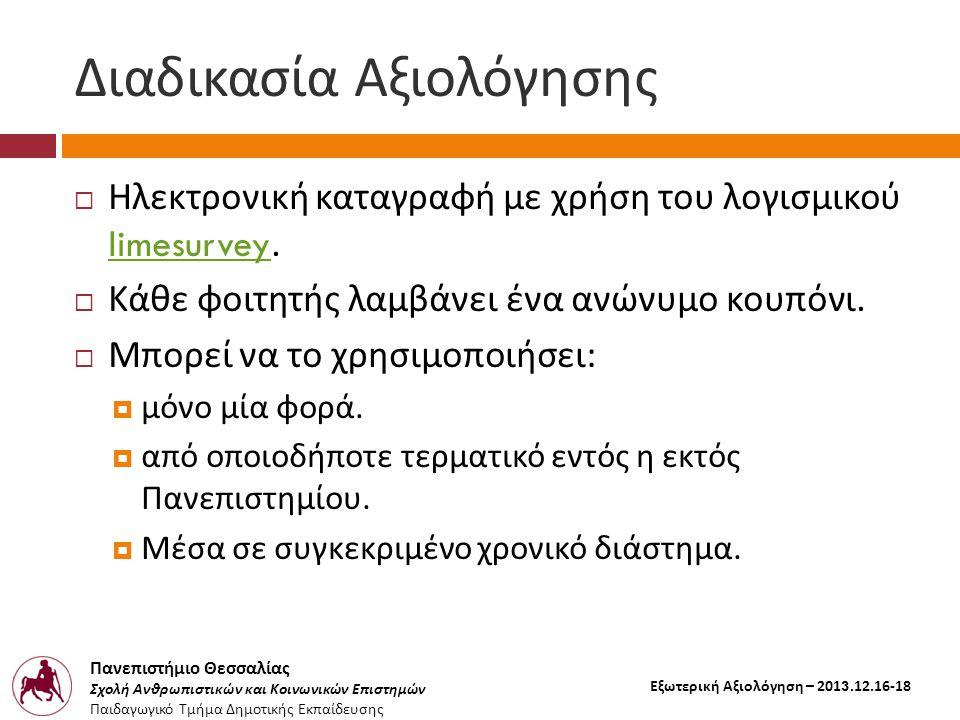 Πανεπιστήμιο Θεσσαλίας Σχολή Ανθρωπιστικών και Κοινωνικών Επιστημών Παιδαγωγικό Τμήμα Δημοτικής Εκπαίδευσης Εξωτερική Αξιολόγηση – 2013.12.16-18 Διαδικασία Αξιολόγησης  Ηλεκτρονική καταγραφή με χρήση του λογισμικού limesurvey.