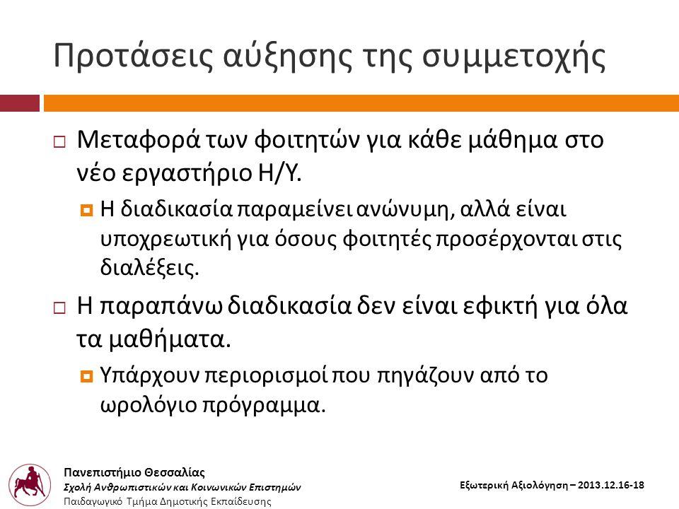 Πανεπιστήμιο Θεσσαλίας Σχολή Ανθρωπιστικών και Κοινωνικών Επιστημών Παιδαγωγικό Τμήμα Δημοτικής Εκπαίδευσης Εξωτερική Αξιολόγηση – 2013.12.16-18 Προτάσεις αύξησης της συμμετοχής  Μεταφορά των φοιτητών για κάθε μάθημα στο νέο εργαστήριο Η / Υ.