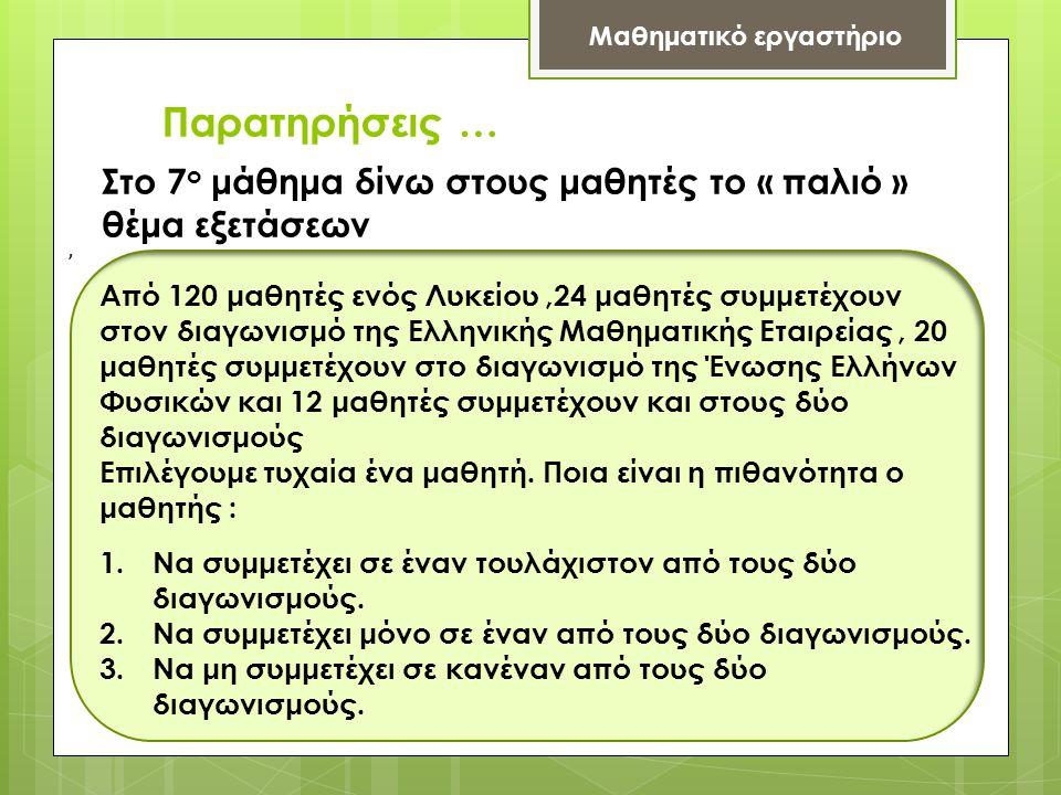 Παρατηρήσεις … Μαθηματικό εργαστήριο, Στο 7 ο μάθημα δίνω στους μαθητές το « παλιό » θέμα εξετάσεων Από 120 μαθητές ενός Λυκείου,24 μαθητές συμμετέχουν στον διαγωνισμό της Ελληνικής Μαθηματικής Εταιρείας, 20 μαθητές συμμετέχουν στο διαγωνισμό της Ένωσης Ελλήνων Φυσικών και 12 μαθητές συμμετέχουν και στους δύο διαγωνισμούς Επιλέγουμε τυχαία ένα μαθητή.