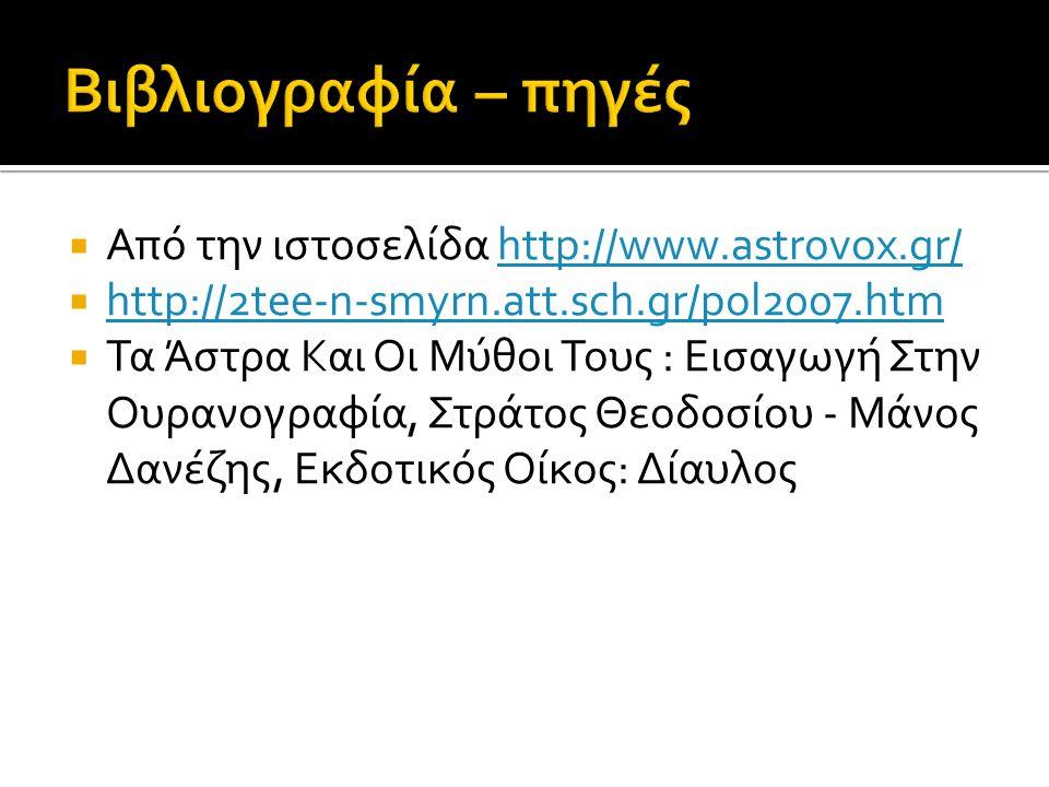 Από την ιστοσελίδα http://www.astrovox.gr/http://www.astrovox.gr/  http://2tee-n-smyrn.att.sch.gr/pol2007.htm http://2tee-n-smyrn.att.sch.gr/pol2007.htm  Τα Άστρα Και Οι Μύθοι Τους : Εισαγωγή Στην Ουρανογραφία, Στράτος Θεοδοσίου - Μάνος Δανέζης, Εκδοτικός Οίκος: Δίαυλος