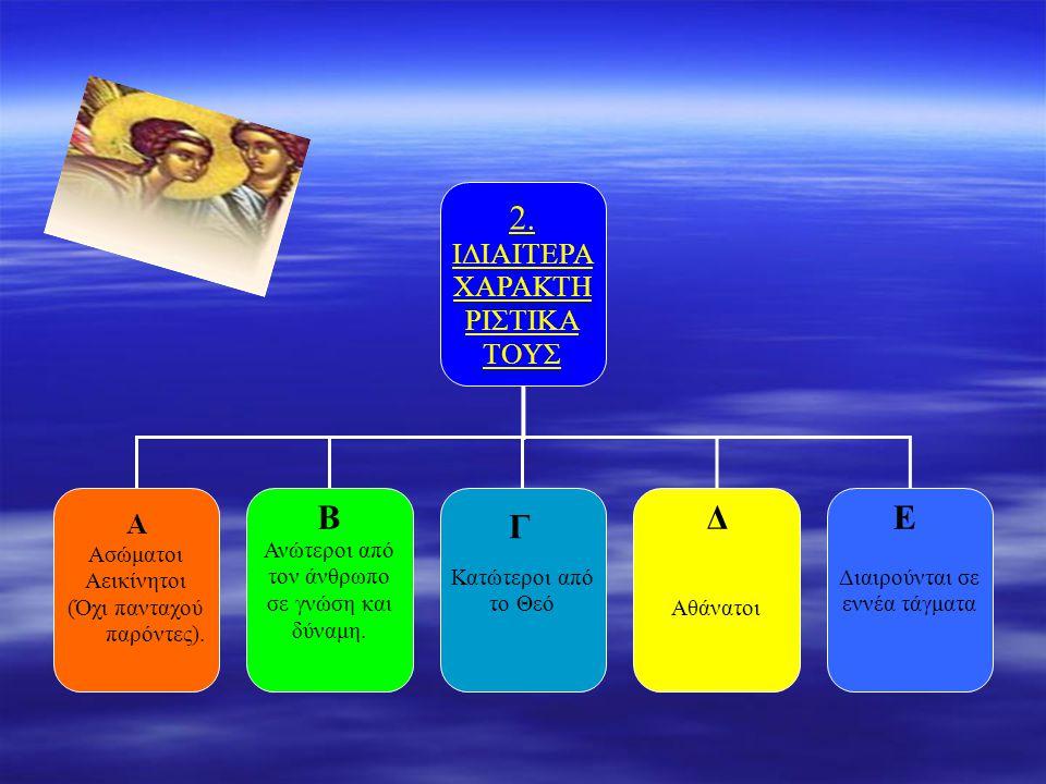 2. ΙΔΙΑΙΤΕΡΑ ΧΑΡΑΚΤΗ ΡΙΣΤΙΚΑ ΤΟΥΣ Α Ασώματοι Αεικίνητοι (Όχι πανταχού παρόντες). Αθάνατοι Διαιρούνται σε εννέα τάγματα Κατώτεροι από το Θεό Ανώτεροι α