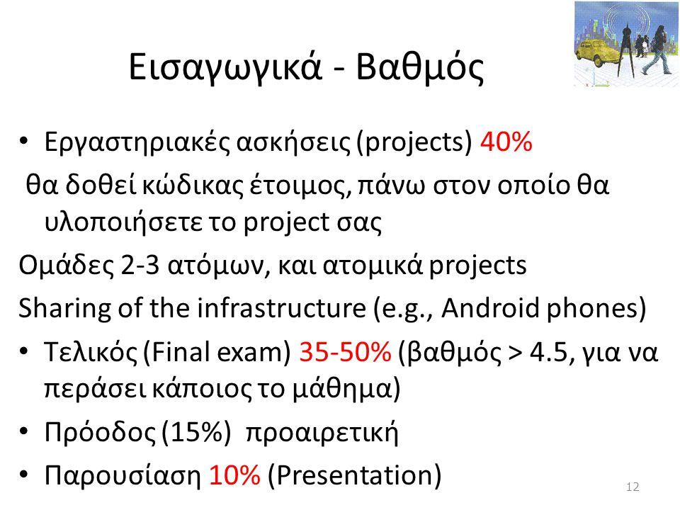 Εισαγωγικά - Βαθμός • Εργαστηριακές ασκήσεις (projects) 40% θα δοθεί κώδικας έτοιμος, πάνω στον οποίο θα υλοποιήσετε το project σας Ομάδες 2-3 ατόμων,