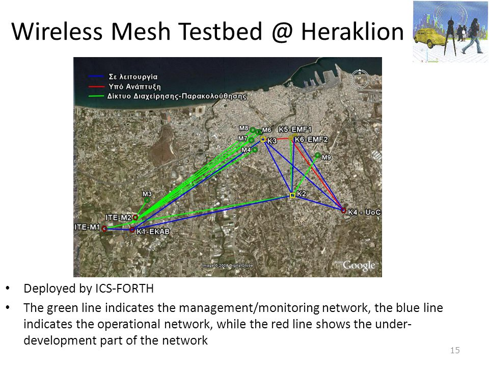 Wireless Mesh Testbed @ Heraklion • Deployed by ICS-FORTH • The green line indicates the management/monitoring network, the blue line indicates the op
