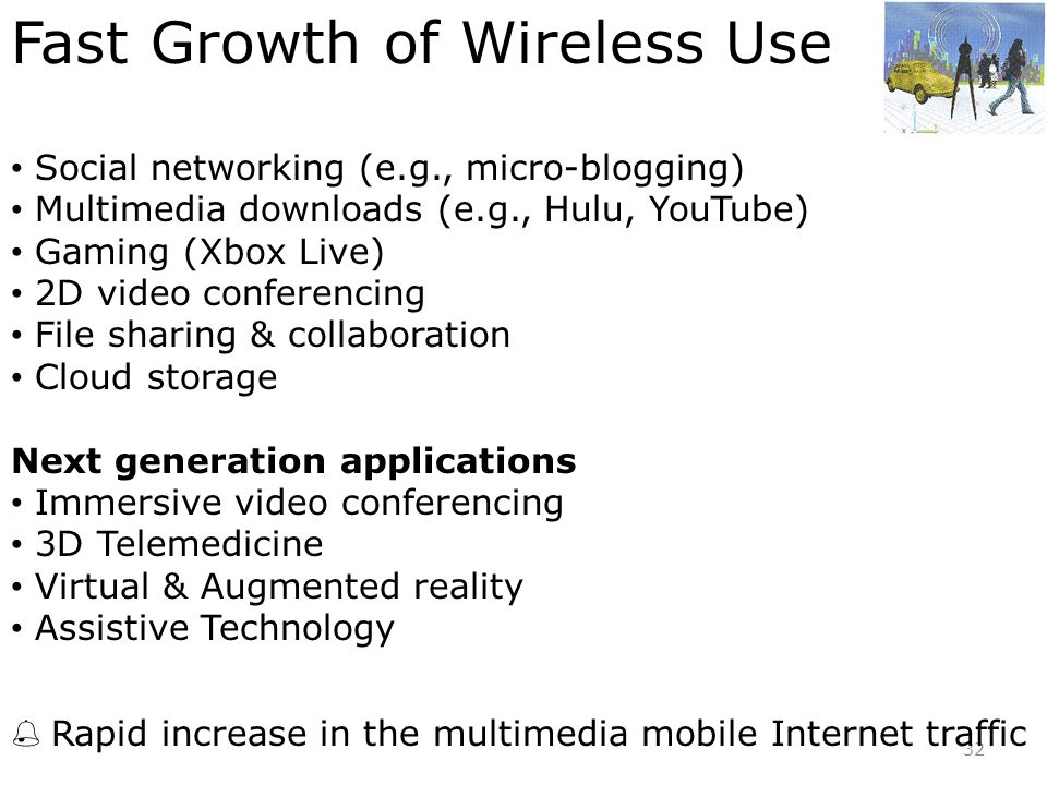 32 Fast Growth of Wireless Use • Social networking (e.g., micro-blogging) • Multimedia downloads (e.g., Hulu, YouTube) • Gaming (Xbox Live) • 2D video