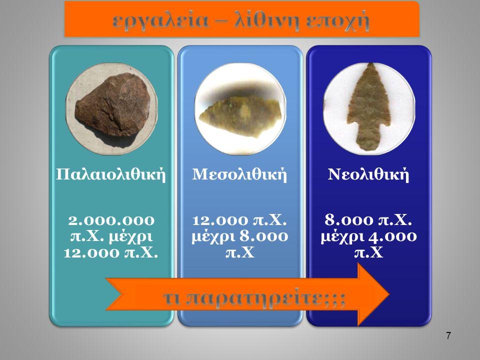λίθινα εργαλεία 2.000.000 π.χ.