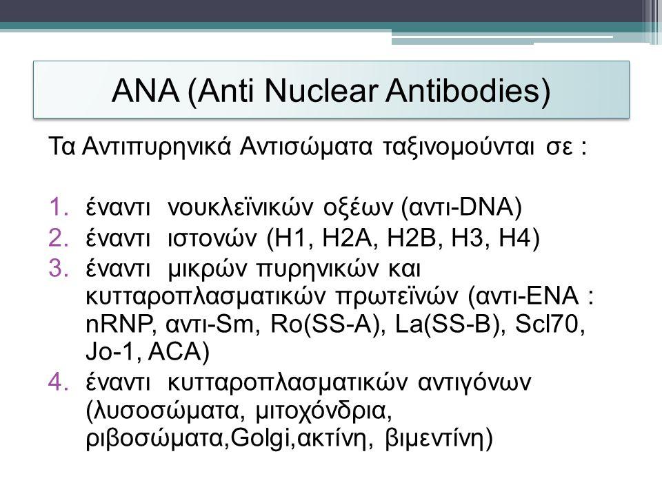 ANA (Anti Nuclear Antibodies) Τα Αντιπυρηνικά Αντισώματα ταξινομούνται σε : 1.έναντι νουκλεϊνικών οξέων (αντι-DNA) 2.έναντι ιστονών (H1, H2A, H2B, H3, H4) 3.έναντι μικρών πυρηνικών και κυτταροπλασματικών πρωτεϊνών (αντι-ENA : nRNP, αντι-Sm, Ro(SS-A), La(SS-B), Scl70, Jo-1, ACA) 4.έναντι κυτταροπλασματικών αντιγόνων (λυσοσώματα, μιτοχόνδρια, ριβοσώματα,Golgi,ακτίνη, βιμεντίνη)