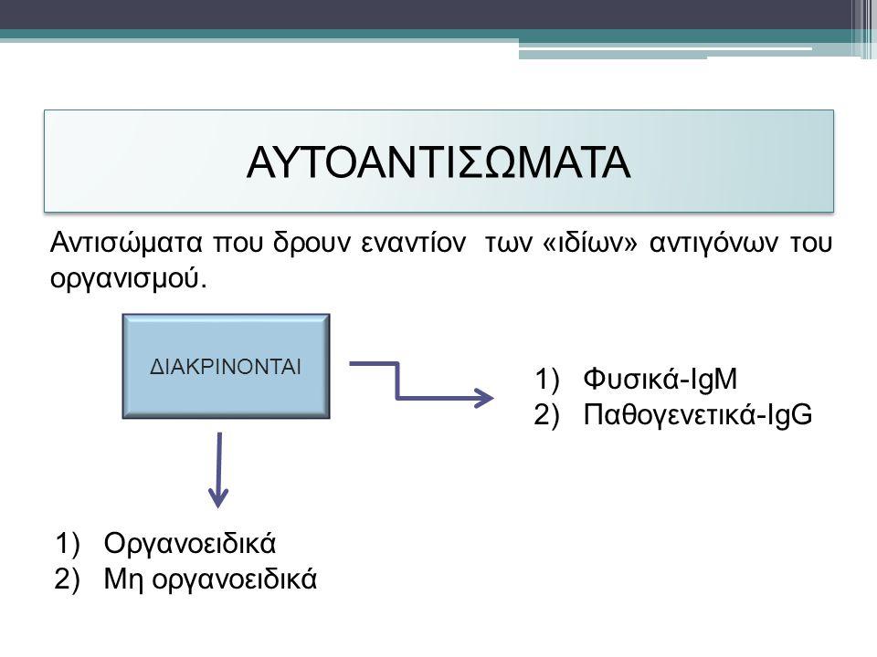ΑΥΤΟΑΝΤΙΣΩΜΑΤΑ 1)Φυσικά-IgM 2)Παθογενετικά-IgG Αντισώματα που δρουν εναντίον των «ιδίων» αντιγόνων του οργανισμού.