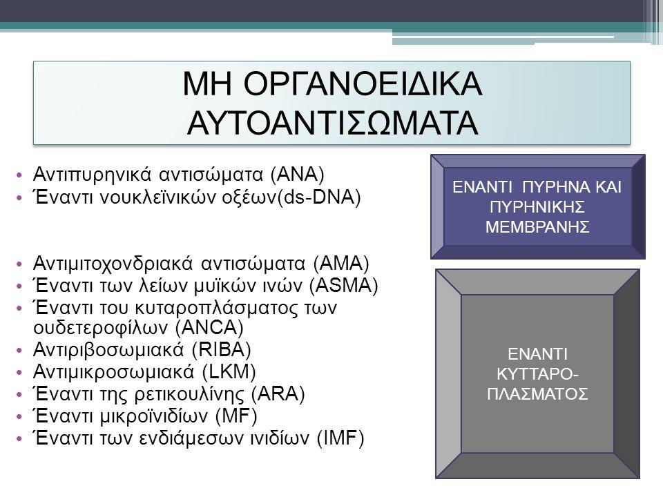 ΜΗ ΟΡΓΑΝΟΕΙΔΙΚΑ ΑΥΤΟΑΝΤΙΣΩΜΑΤΑ • Αντιπυρηνικά αντισώματα (ANA) • Έναντι νουκλεϊνικών οξέων(ds-DNA) • Αντιμιτοχονδριακά αντισώματα (AMA) • Έναντι των λείων μυϊκών ινών (ASMA) • Έναντι του κυταροπλάσματος των ουδετεροφίλων (ANCA) • Αντιριβοσωμιακά (RIBA) • Αντιμικροσωμιακά (LKM) • Έναντι της ρετικουλίνης (ARA) • Έναντι μικροϊνιδίων (MF) • Έναντι των ενδιάμεσων ινιδίων (IMF) ΕΝΑΝΤΙ ΠΥΡΗΝΑ ΚΑΙ ΠΥΡΗΝΙΚΗΣ ΜΕΜΒΡΑΝΗΣ ΕΝΑΝΤΙ ΚΥΤΤΑΡΟ- ΠΛΑΣΜΑΤΟΣ