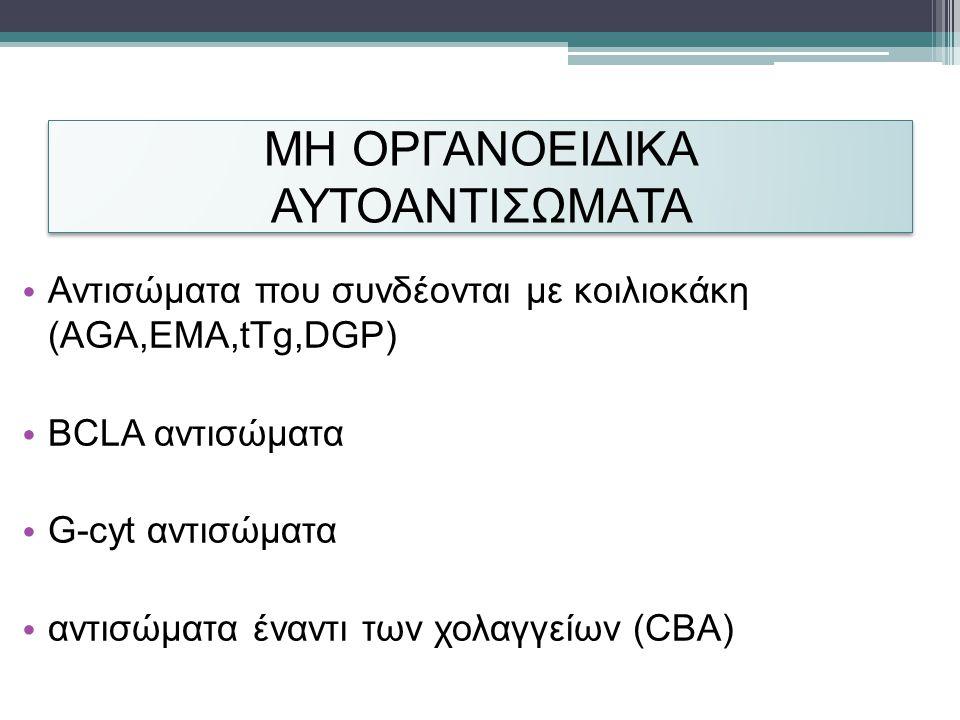 ΜΗ ΟΡΓΑΝΟΕΙΔΙΚΑ ΑΥΤΟΑΝΤΙΣΩΜΑΤΑ • Αντισώματα που συνδέονται με κοιλιοκάκη (AGA,EMA,tTg,DGP) • BCLA αντισώματα • G-cyt αντισώματα • αντισώματα έναντι των χολαγγείων (CBA)