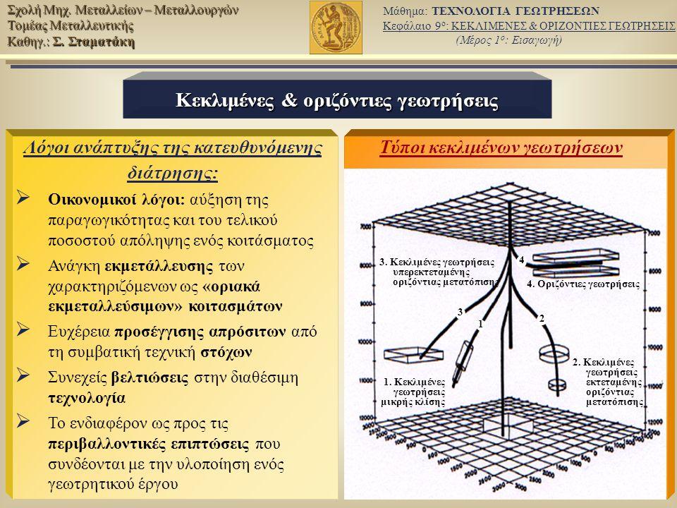 5/12 Μάθημα: ΤΕΧΝΟΛΟΓΙΑ ΓΕΩΤΡΗΣΕΩΝ Κεφάλαιο 9 ο : ΚΕΚΛΙΜΕΝΕΣ & ΟΡΙΖΟΝΤΙΕΣ ΓΕΩΤΡΗΣΕΙΣ (Μέρος 1 ο : Εισαγωγή) Σχολή Μηχ.