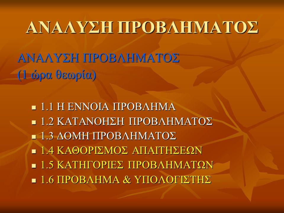 ΑΝΑΛΥΣΗ ΠΡΟΒΛΗΜΑΤΟΣ (1 ώρα θεωρία)  1.1 Η ΕΝΝΟΙΑ ΠΡΟΒΛΗΜΑ  1.2 ΚΑΤΑΝΟΗΣΗ ΠΡΟΒΛΗΜΑΤΟΣ  1.3 ΔΟΜΗ ΠΡΟΒΛΗΜΑΤΟΣ  1.4 ΚΑΘΟΡΙΣΜΟΣ ΑΠΑΙΤΗΣΕΩΝ  1.5 ΚΑΤΗΓΟ