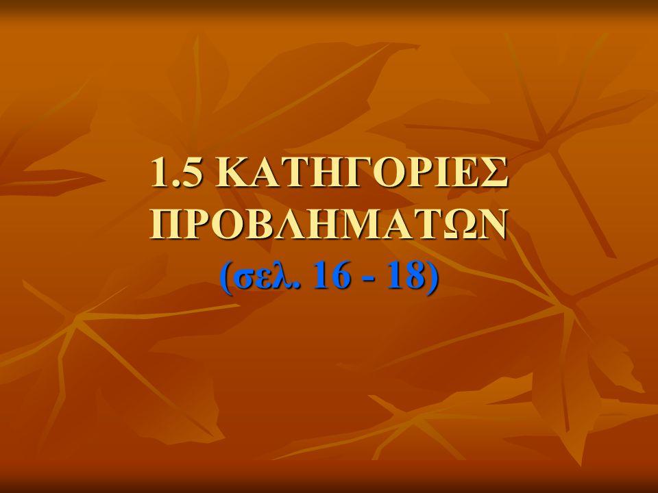 1.5 ΚΑΤΗΓΟΡΙΕΣ ΠΡΟΒΛΗΜΑΤΩΝ (σελ. 16 - 18)