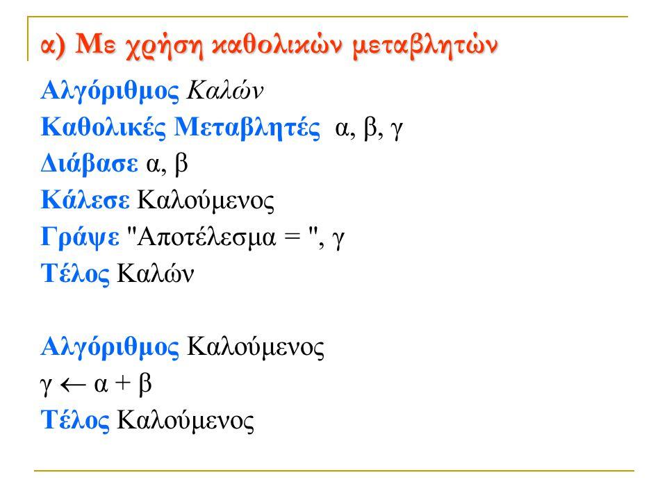 β) Με μεταβίβαση τιμών Αλγόριθμος Καλών Διάβασε α, β Κάλεσε Καλούμενος (α, β, γ) Γράψε Αποτέλεσμα = , γ Τέλος Καλών Αλγόριθμος Καλούμενος Δεδομένα // x, y // z  x + y Αποτελέσματα // z // Τέλος Καλούμενος Η αντιστοιχία των μεταβλητών των δύο αλγορίθμων γίνεται με τη σειρά που αναφέρονται στις αντίστοιχες γραμμές, δηλ.
