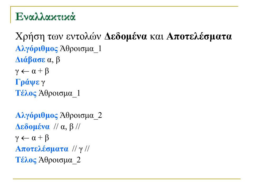 Εναλλακτικά Χρήση των εντολών Δεδομένα και Αποτελέσματα Αλγόριθμος Άθροισμα_1 Διάβασε α, β γ  α + β Γράψε γ Τέλος Άθροισμα_1 Αλγόριθμος Άθροισμα_2 Δε
