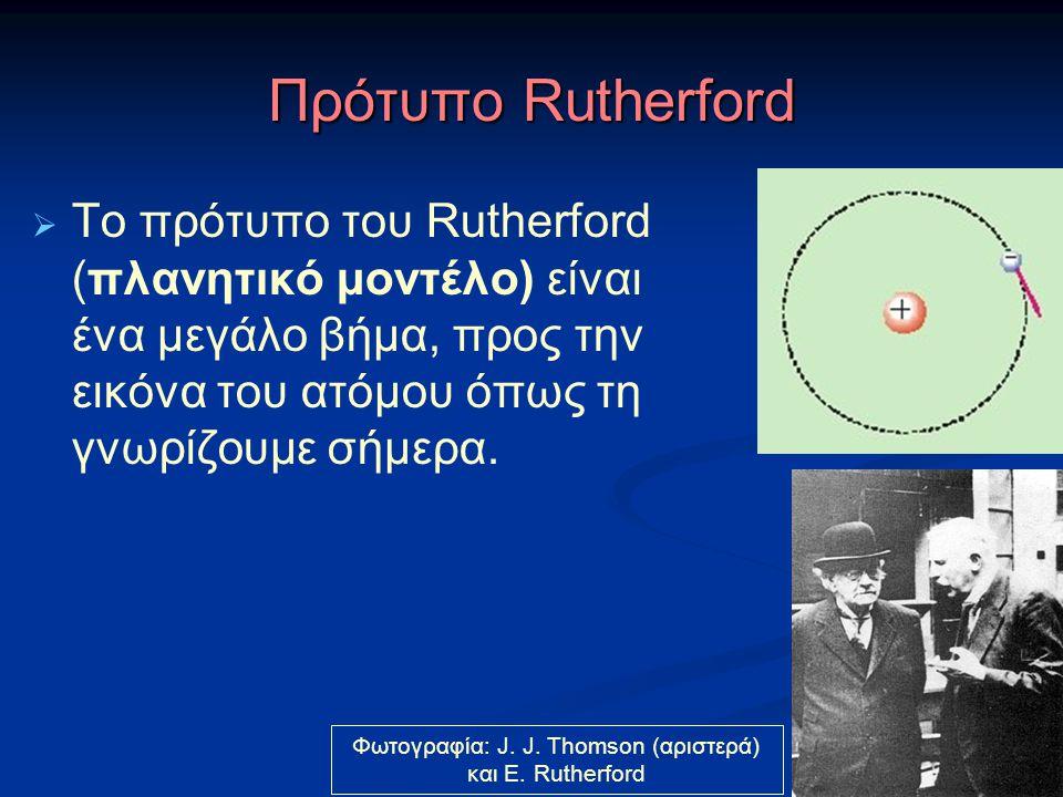 Πρότυπο Rutherford  Το πρότυπο του Rutherford (πλανητικό μοντέλο) είναι ένα μεγάλο βήμα, προς την εικόνα του ατόμου όπως τη γνωρίζουμε σήμερα. Φωτογρ