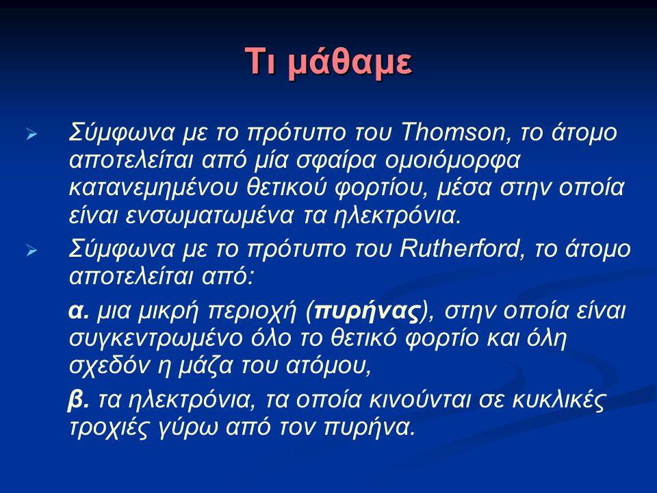 Τι μάθαμε  Σύμφωνα με το πρότυπο του Thomson, το άτομο αποτελείται από μία σφαίρα ομοιόμορφα κατανεμημένου θετικού φορτίου, μέσα στην οποία είναι ενσ