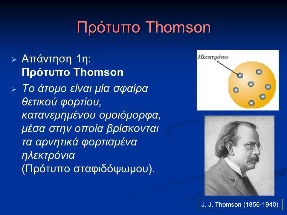 Πρότυπο Thomson  Απάντηση 1η: Πρότυπο Thomson  Το άτομο είναι μία σφαίρα θετικού φορτίου, κατανεμημένου ομοιόμορφα, μέσα στην οποία βρίσκονται τα αρ