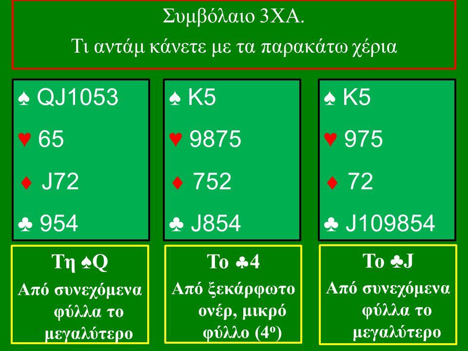 ♠ QJ1053 ♥ 65  J72 ♣ 954 Συμβόλαιο 3ΧΑ. Τι αντάμ κάνετε με τα παρακάτω χέρια Τη ♠ Q Από συνεχόμενα φύλλα το μεγαλύτερο ♠ K5 ♥ 9875  752 ♣ J854 Το 