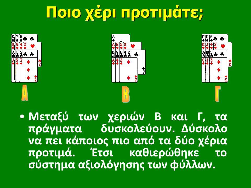 Ποιο χέρι προτιμάτε; •Μεταξύ των χεριών Β και Γ, τα πράγματα δυσκολεύουν.