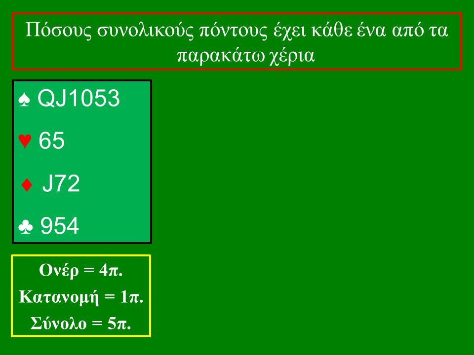 ♠ QJ1053 ♥ 65  J72 ♣ 954 Πόσους συνολικούς πόντους έχει κάθε ένα από τα παρακάτω χέρια Ονέρ = 4π. Κατανομή = 1π. Σύνολο = 5π.