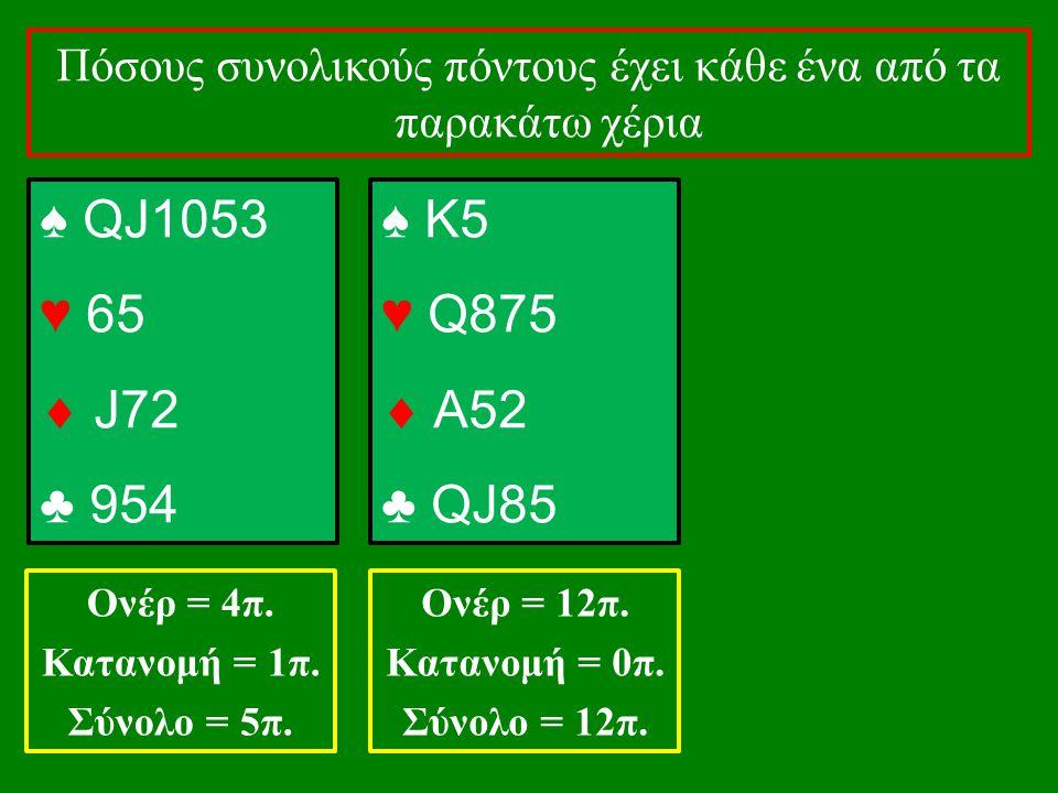 ♠ QJ1053 ♥ 65  J72 ♣ 954 Πόσους συνολικούς πόντους έχει κάθε ένα από τα παρακάτω χέρια Ονέρ = 4π. Κατανομή = 1π. Σύνολο = 5π. ♠ K5 ♥ Q875  Α52 ♣ QJ8