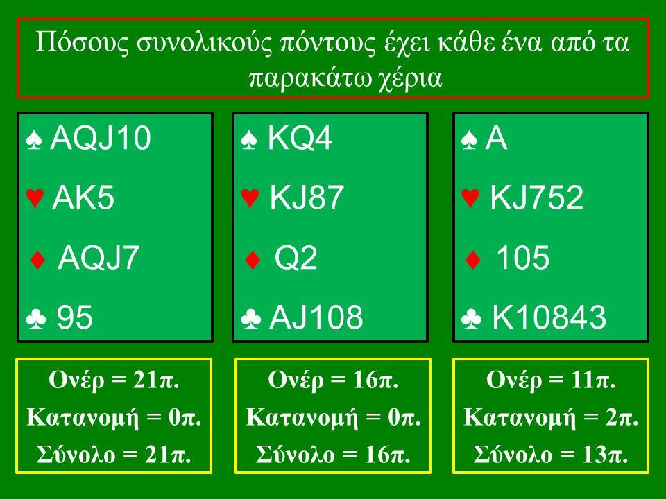 ♠ ΑQJ10 ♥ ΑΚ5  ΑQJ7 ♣ 95 ♠ KQ4 ♥ KJ87  Q2 ♣ AJ108 ♠ A ♥ KJ752  105 ♣ K10843 Πόσους συνολικούς πόντους έχει κάθε ένα από τα παρακάτω χέρια Ονέρ = 21π.