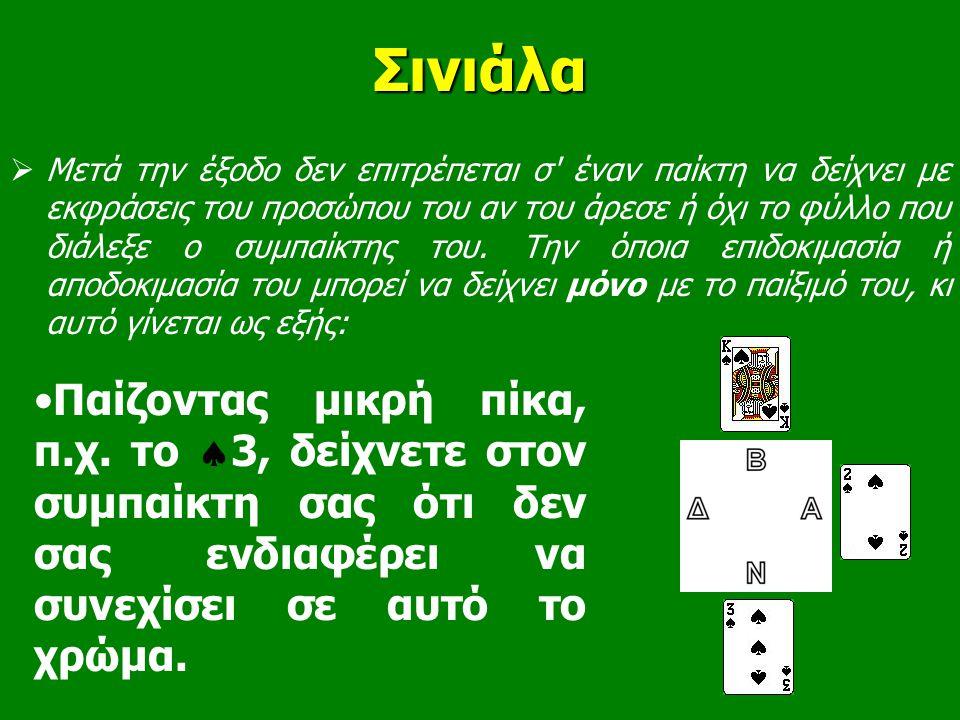 Σινιάλα •Παίζοντας μικρή πίκα, π.χ. το  3, δείχνετε στον συμπαίκτη σας ότι δεν σας ενδιαφέρει να συνεχίσει σε αυτό το χρώμα.