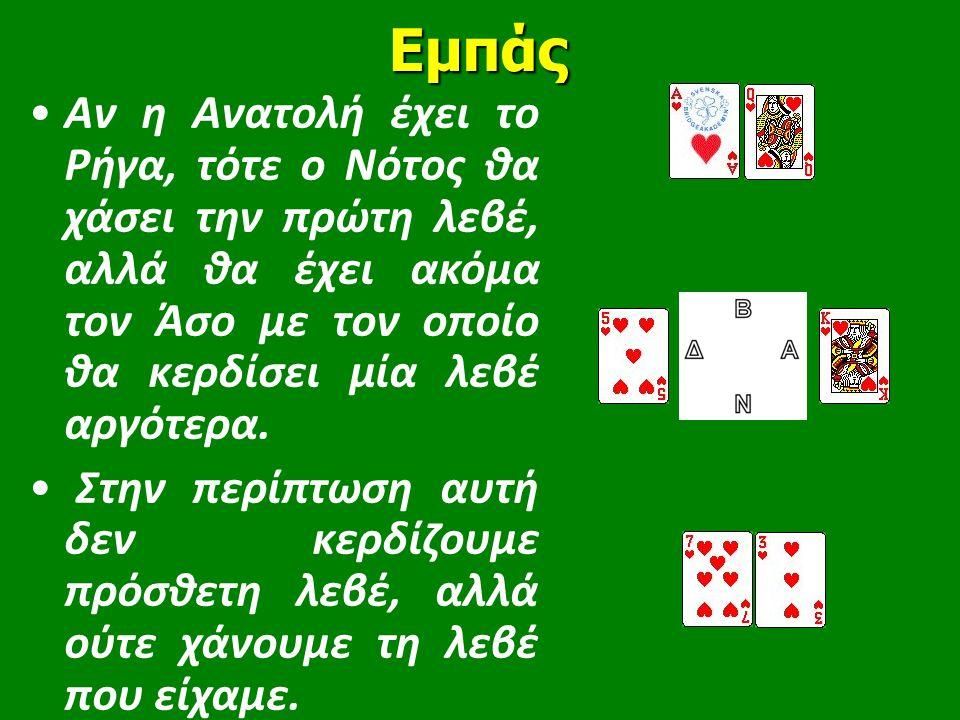 Εμπάς •Αν η Ανατολή έχει το Ρήγα, τότε ο Νότος θα χάσει την πρώτη λεβέ, αλλά θα έχει ακόμα τον Άσο με τον οποίο θα κερδίσει μία λεβέ αργότερα. • Στην