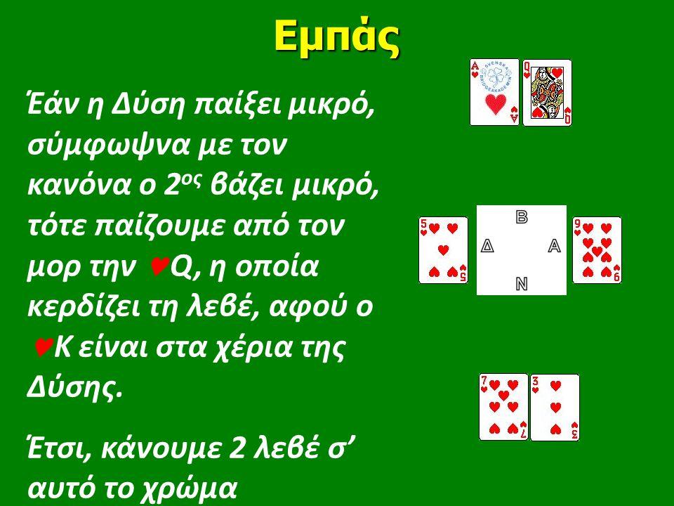 Έάν η Δύση παίξει μικρό, σύμφωψνα με τον κανόνα ο 2 ος βάζει μικρό, τότε παίζουμε από τον μορ την  Q, η οποία κερδίζει τη λεβέ, αφού ο  Κ είναι στα χέρια της Δύσης.