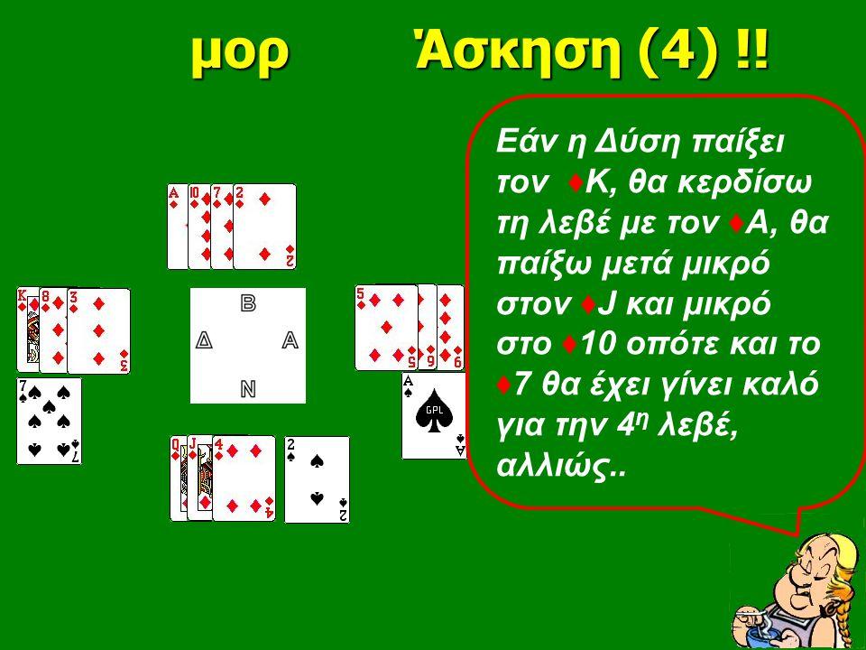 μορ Άσκηση (4) !! μορ Άσκηση (4) !! Εάν η Δύση παίξει τον ♦ Κ, θα κερδίσω τη λεβέ με τον ♦Α, θα παίξω μετά μικρό στον ♦J και μικρό στο ♦10 οπότε και τ