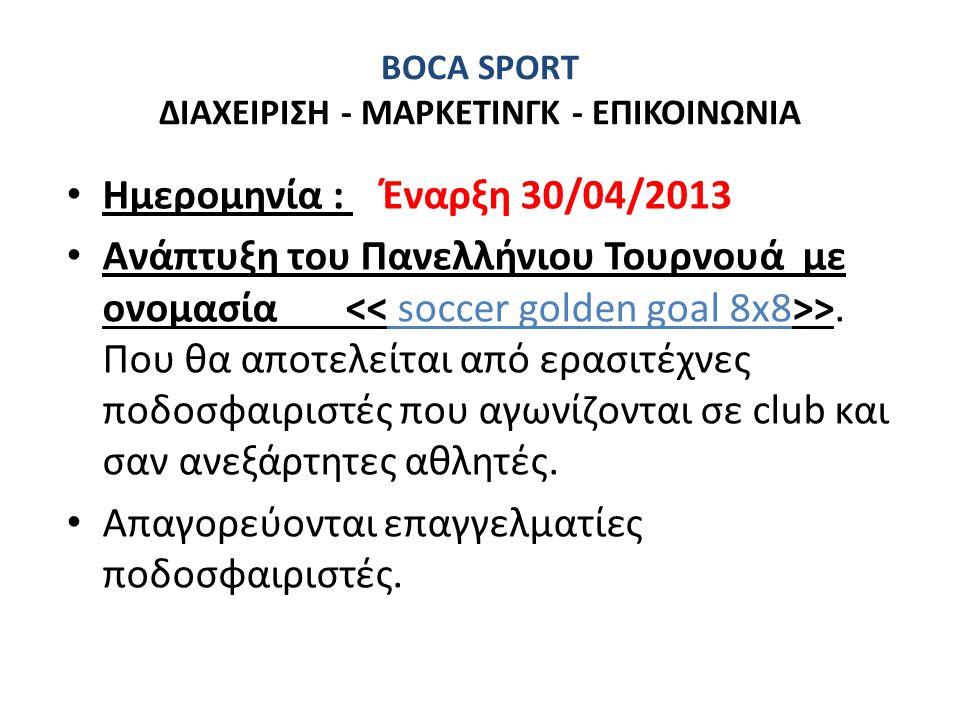 BOCA SPORT ΔΙΑΧΕΙΡΙΣΗ - ΜΑΡΚΕΤΙΝΓΚ - ΕΠΙΚΟΙΝΩΝΙΑ • Ημερομηνία : Έναρξη 30/04/2013 • Ανάπτυξη του Πανελλήνιου Τουρνουά με ονομασία >. Που θα αποτελείτα