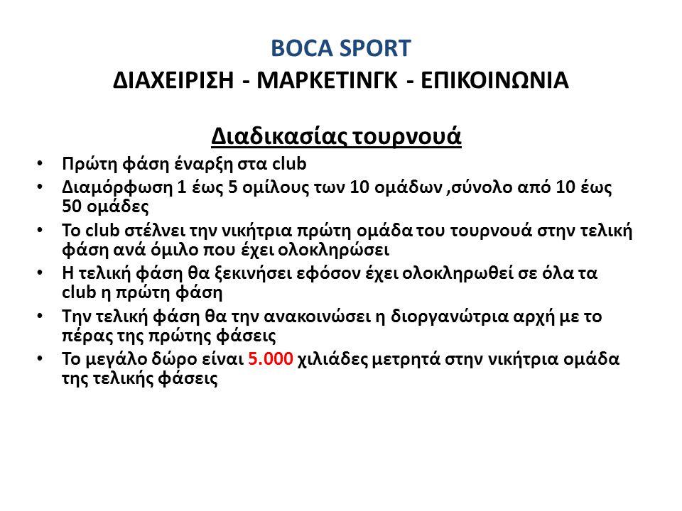 BOCA SPORT ΔΙΑΧΕΙΡΙΣΗ - ΜΑΡΚΕΤΙΝΓΚ - ΕΠΙΚΟΙΝΩΝΙΑ Διαδικασίας τουρνουά • Πρώτη φάση έναρξη στα club • Διαμόρφωση 1 έως 5 ομίλους των 10 ομάδων,σύνολο α