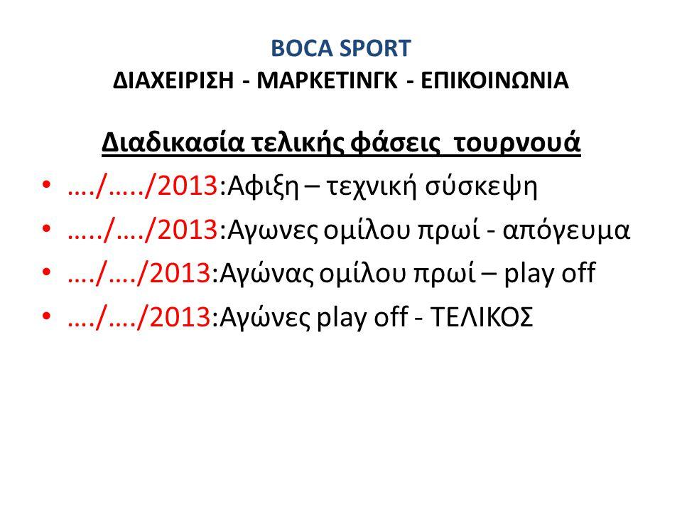 BOCA SPORT ΔΙΑΧΕΙΡΙΣΗ - ΜΑΡΚΕΤΙΝΓΚ - ΕΠΙΚΟΙΝΩΝΙΑ Διαδικασία τελικής φάσεις τουρνουά • …./…../2013:Αφιξη – τεχνική σύσκεψη • …../…./2013:Αγωνες ομίλου