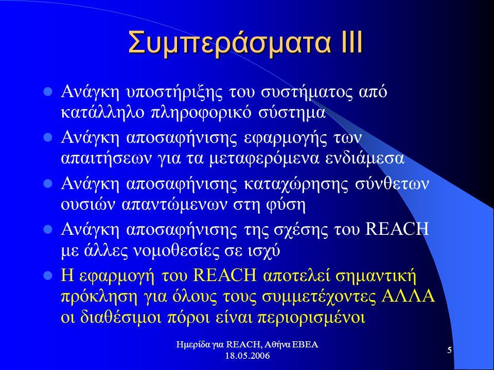 Ημερίδα για REACH, Αθήνα ΕΒΕΑ 18.05.2006 5 Συμπεράσματα ΙΙΙ  Ανάγκη υποστήριξης του συστήματος από κατάλληλο πληροφορικό σύστημα  Ανάγκη αποσαφήνισης εφαρμογής των απαιτήσεων για τα μεταφερόμενα ενδιάμεσα  Ανάγκη αποσαφήνισης καταχώρησης σύνθετων ουσιών απαντώμενων στη φύση  Ανάγκη αποσαφήνισης της σχέσης του REACH με άλλες νομοθεσίες σε ισχύ  Η εφαρμογή του REACH αποτελεί σημαντική πρόκληση για όλους τους συμμετέχοντες ΑΛΛΑ οι διαθέσιμοι πόροι είναι περιορισμένοι
