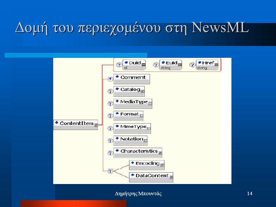 Δημήτρης Μπουντάς14 Δομή του περιεχομένου στη NewsML
