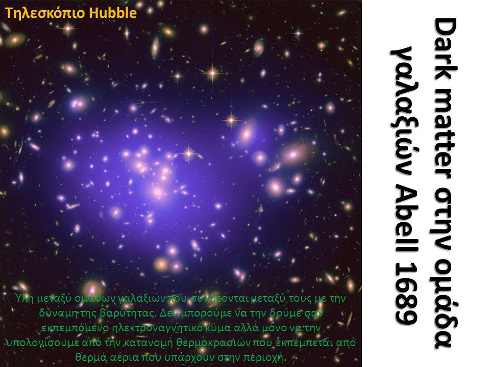 Dark matter στην ομάδα γαλαξιών Abell 1689 Τηλεσκόπιο Hubble Ύλη μεταξύ ομάδων γαλαξιών που συνδέονται μεταξύ τους με την δύναμη της βαρύτητας.