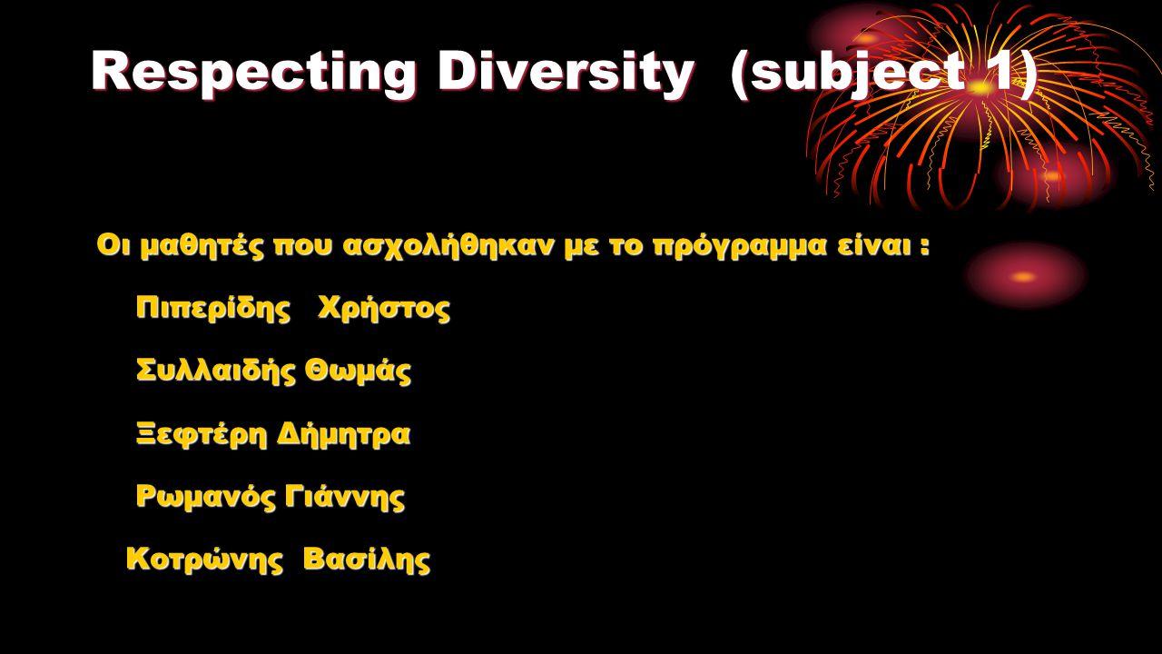 1.Recognising diversity 1.Recognising diversity Σεβόμαστε τους ανθρώπους με δυσκολίες :δεν ακούνε, δεν βλέπουνε, με αναπηρία γιατί το μην έχεις μια από τις 5 αισθήσεις δεν είναι λόγος για κοροϊδία.