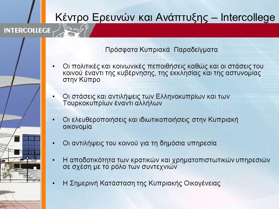 Κέντρο Ερευνών και Ανάπτυξης – Intercollege Πρόσφατα Κυπριακά Παραδείγματα •Οι πολιτικές και κοινωνικές πεποιθήσεις καθώς και οι στάσεις του κοινού έναντι της κυβέρνησης, της εκκλησίας και της αστυνομίας στην Κύπρο •Οι στάσεις και αντιλήψεις των Ελληνοκυπρίων και των Τουρκοκυπρίων έναντι αλλήλων •Οι ελευθεροποιήσεις και ιδιωτικοποιήσεις στην Κυπριακή οικονομία •Οι αντιλήψεις του κοινού για τη δημόσια υπηρεσία •Η αποδοτικότητα των κρατικών και χρηματοπιστωτικών υπηρεσιών σε σχέση με το ρόλο των συντεχνιών •Η Σημερινή Κατάσταση της Κυπριακής Οικογένειας