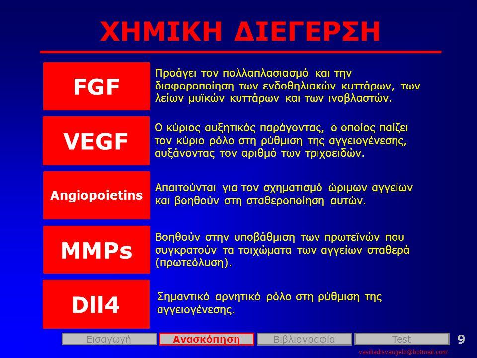 ΧΗΜΙΚΗ ΔΙΕΓΕΡΣΗ vasiliadisvangelo@hotmail.com 9 FGF Προάγει τον πολλαπλασιασμό και την διαφοροποίηση των ενδοθηλιακών κυττάρων, των λείων μυϊκών κυττάρων και των ινοβλαστών.