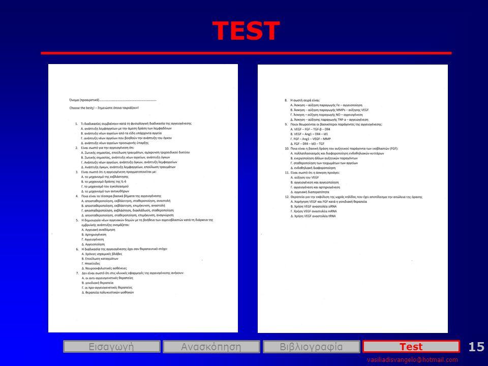 vasiliadisvangelo@hotmail.com ΕισαγωγήTest 15 ΑνασκόπησηΒιβλιογραφία TEST