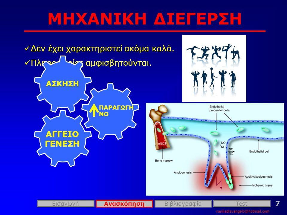 ΧΗΜΙΚΗ ΔΙΕΓΕΡΣΗ vasiliadisvangelo@hotmail.com 8 ΔιεγέρτηςΜηχανισμός FGFΠολλαπλασιασμό και την διαφοροποίηση των EK VEGF Επηρεάζει την διαπερατότητα VEGFR and NRP-1 Προάγουν την ολοκλήρωση σημάτων επιβίωσης Ang1 and Ang2 Σταθεροποιούν τα αγγεία TGF-β ↑ την παραγωγή της εξωκυττάριας θεμέλιας ουσίας Ephrin Καθορίζουν τον σχηματισμό αρτηριών και φλεβών Plasminogen activators Μετασχηματίζουν την εξωκυττάρια θεμέλια ουσία, εκκρίνουν και ενεργοποιούν αυξητικούς παράγοντες AC133 Ρυθμίζει την διαφοροποίηση των αγγειοβλαστών Id1/Id3 Ρυθμίζουν την ενδοθηλιακή διαφοροποίηση ΕισαγωγήTest ΑνασκόπησηΒιβλιογραφία