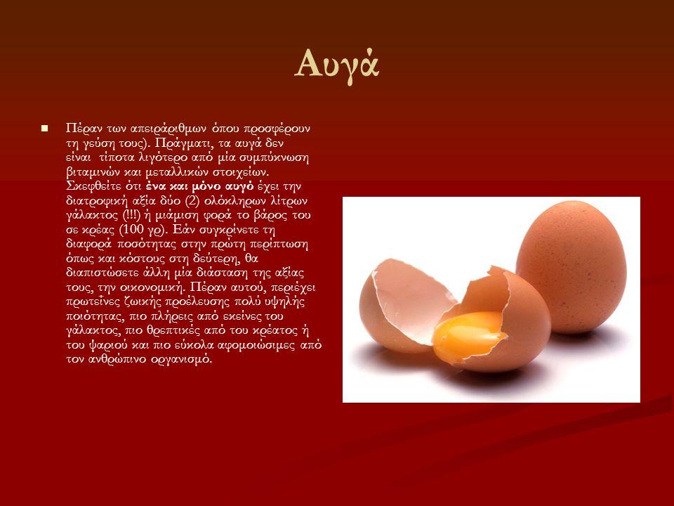 Αυγά   Πέραν των απειράριθμων όπου προσφέρουν τη γεύση τους). Πράγματι, τα αυγά δεν είναι τίποτα λιγότερο από μία συμπύκνωση βιταμινών και μεταλλικώ